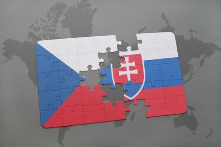 Puzzle mit der Nationalflagge der Tschechischen Republik und der Slowakei auf einer Weltkarte Hintergrund. 3D-Darstellung