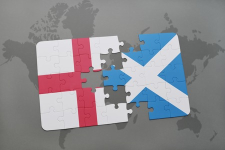 Four jigsaw pieces each filled with the flags of britain scotland 60832851 puzzle with the national flag of england and scotland on a world map background 3d illustration gumiabroncs Image collections