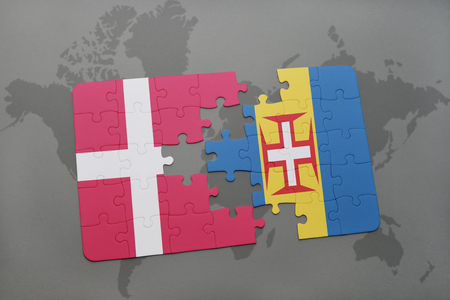 madeira: puzzle with the national flag of denmark and madeira on a world map background. 3D illustration