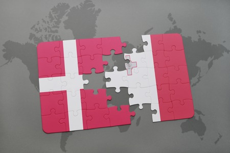 maltese map: puzzle with the national flag of denmark and malta on a world map background. 3D illustration