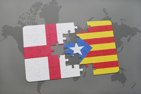 catalonia: puzzle with the national flag of england and catalonia on a world map background. 3D illustration