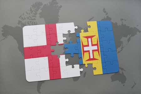 madeira: puzzle with the national flag of england and madeira on a world map background. 3D illustration