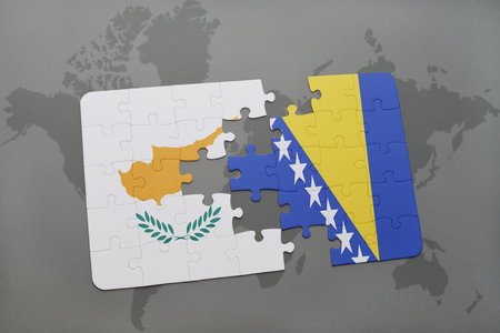 bosnian: puzzle with the national flag of cyprus and bosnia and herzegovina on a world map background. 3D illustration