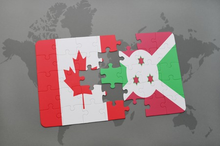 puzzle with the national flag of canada and burundi on a world map background. 3D illustration