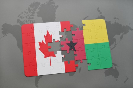 guinea bissau: puzzle with the national flag of canada and guinea bissau on a world map background. 3D illustration