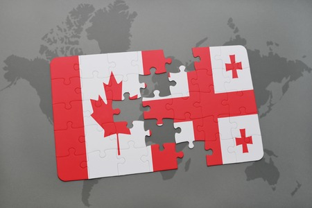 Puzzle With The National Flag Of Canada And Switzerland On A - Us map georgia puzzle
