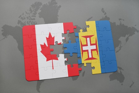 madeira: puzzle with the national flag of canada and madeira on a world map background. 3D illustration