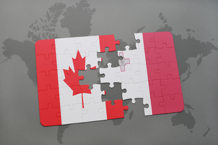 maltese map: puzzle with the national flag of canada and malta on a world map background. 3D illustration