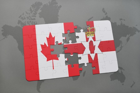 northern ireland: puzzle with the national flag of canada and northern ireland on a world map background. 3D illustration