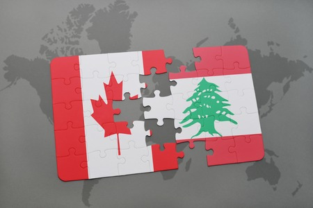 lebanese: puzzle with the national flag of canada and lebanon on a world map background. 3D illustration