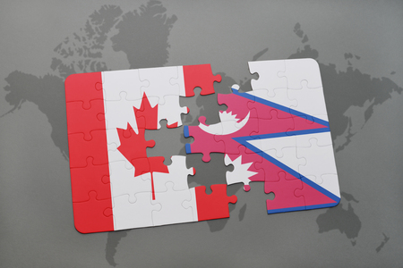 puzzle with the national flag of canada and nepal on a world map background. 3D illustration