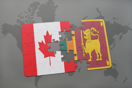 ceylon: puzzle with the national flag of canada and sri lanka on a world map background. 3D illustration Stock Photo