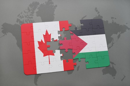 puzzle with the national flag of canada and palestine on a world map background. 3D illustration