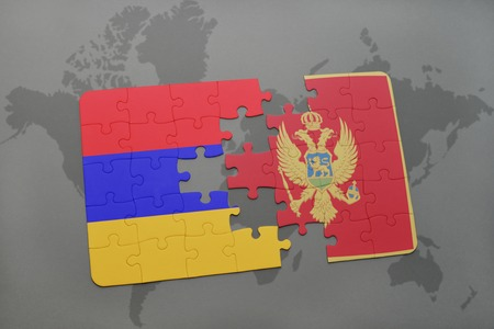 yerevan: puzzle with the national flag of armenia and montenegro on a world map background. 3D illustration
