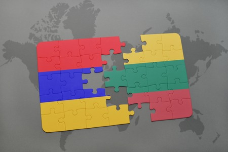 yerevan: puzzle with the national flag of armenia and lithuania on a world map background. 3D illustration