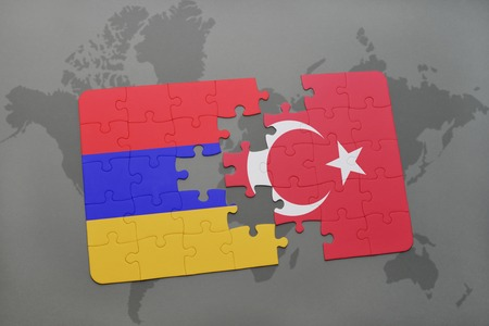 yerevan: puzzle with the national flag of armenia and turkey on a world map background. 3D illustration