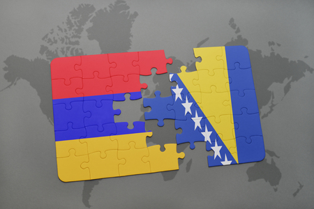 yerevan: puzzle with the national flag of armenia and bosnia and herzegovina on a world map background. 3D illustration Stock Photo