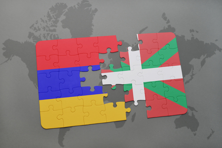 yerevan: puzzle with the national flag of armenia and basque country on a world map background. 3D illustration