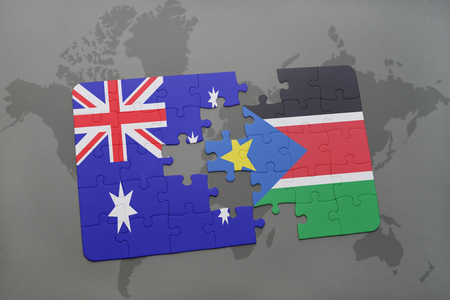 south sudan: puzzle with the national flag of australia and south sudan on a world map background. 3D illustration