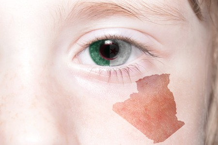 humans face with national flag and map of algeria. concept