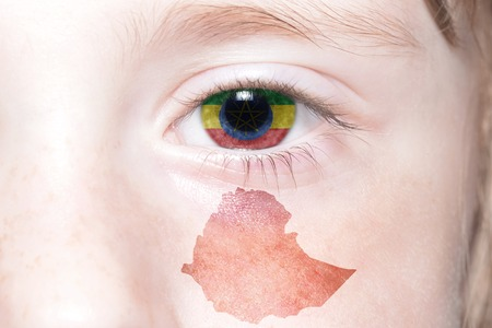 humans face with national flag and map of ethiopia. concept