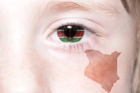 humans face with national flag and map of kenya. concept