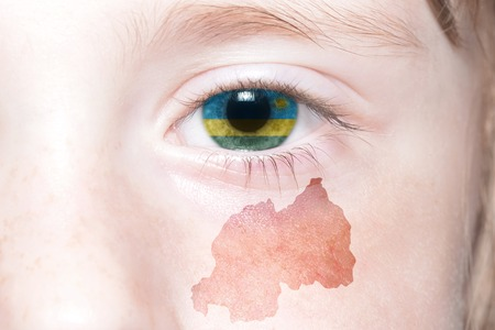 humans face with national flag and map of rwanda. concept