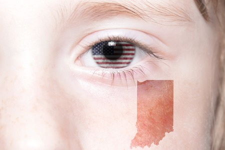 humans face with national flag of united states of america and indiana state map. concept