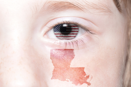 louisiana flag: humans face with national flag of united states of america and louisiana state map. concept
