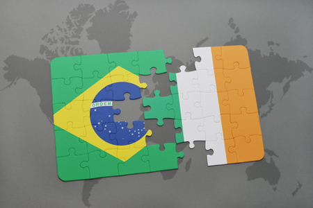 irish map: puzzle with the national flag of brazil and ireland on a world map background. 3D illustration