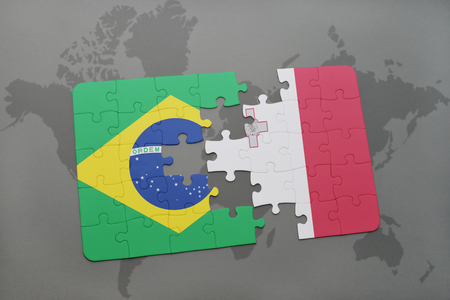 maltese map: puzzle with the national flag of brazil and malta on a world map background. 3D illustration