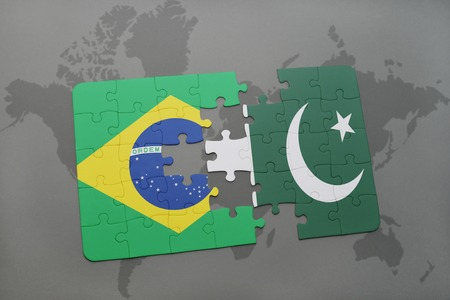 islamabad: puzzle with the national flag of brazil and pakistan on a world map background. 3D illustration