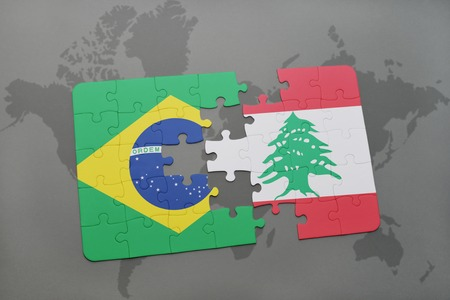 middle east conflict: puzzle with the national flag of brazil and lebanon on a world map background. 3D illustration