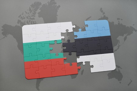 estonian: puzzle with the national flag of bulgaria and estonia on a world map background. 3D illustration