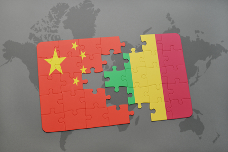 bamako: puzzle with the national flag of china and mali on a world map background. 3D illustration