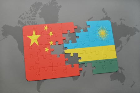 kigali: puzzle with the national flag of china and rwanda on a world map background. 3D illustration