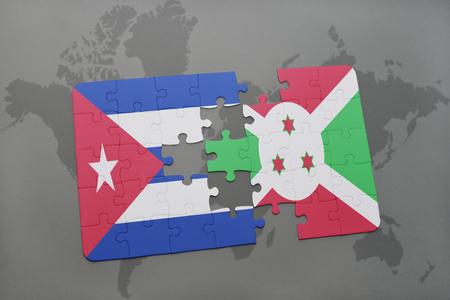 puzzle with the national flag of cuba and burundi on a world map background. 3D illustration