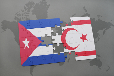 puzzle with the national flag of cuba and northern cyprus on a world map background. 3D illustration Stock Photo