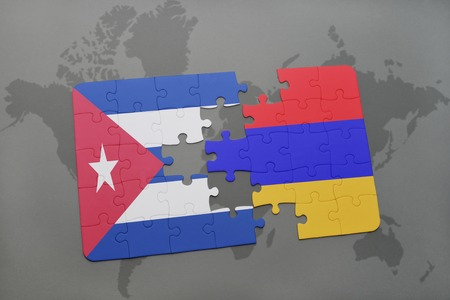 yerevan: puzzle with the national flag of cuba and armenia on a world map background. 3D illustration Stock Photo