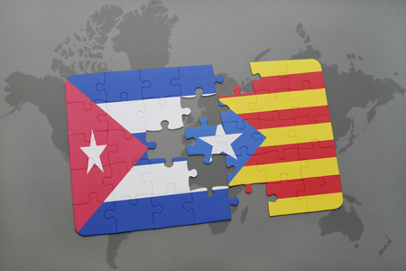 catalonia: puzzle with the national flag of cuba and catalonia on a world map background. 3D illustration