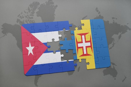 madeira: puzzle with the national flag of cuba and madeira on a world map background. 3D illustration Stock Photo