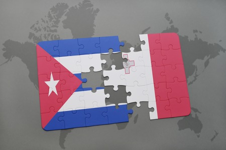 malta map: puzzle with the national flag of cuba and malta on a world map background. 3D illustration Stock Photo