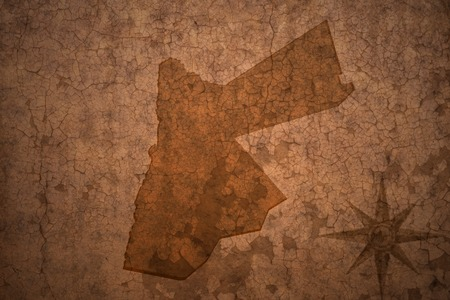 ancient near east: jordan map on a old vintage crack paper background Stock Photo