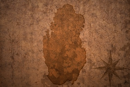 ancient near east: qatar map on a old vintage crack paper background