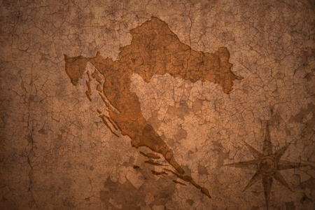 croatia map on a old vintage crack paper background Stock Photo