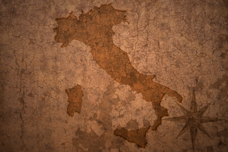 italy map on a old vintage crack paper background Stock Photo