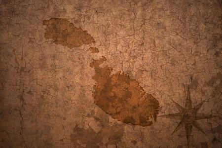 malta map: malta map on a old vintage crack paper background