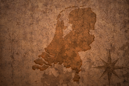 netherlands map on a old vintage crack paper background Stock Photo - 63186023