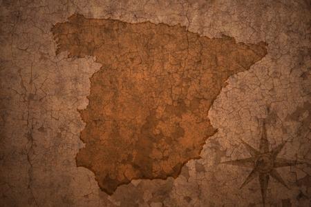 carte Espagne sur une vieille fissure cru fond de papier