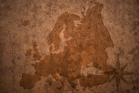 european map: european map on a old vintage crack paper background